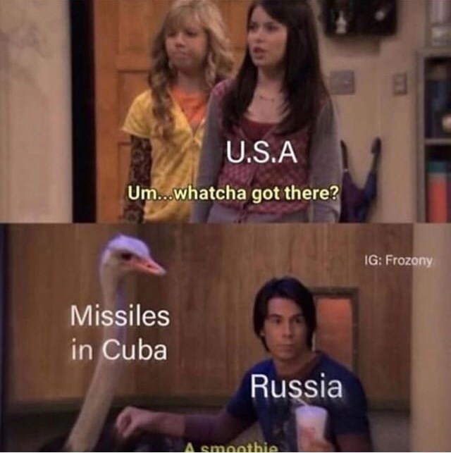 Facial expression - U.S.A Um..whatcha got there? IG: Frozony Missiles in Cuba Russia smoothie