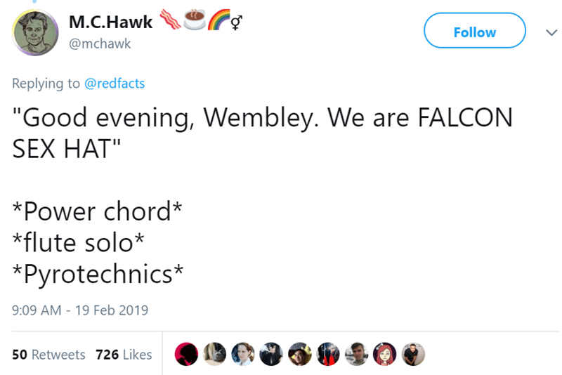"""Text - M.C.Hawk Follow @mchawk Replying to @redfacts """"Good evening, Wembley. We are FALCON SEX HAT"""" *Power chord* *flute solo* *Pyrotechnics* 9:09 AM 19 Feb 2019 50 Retweets 726 Likes"""