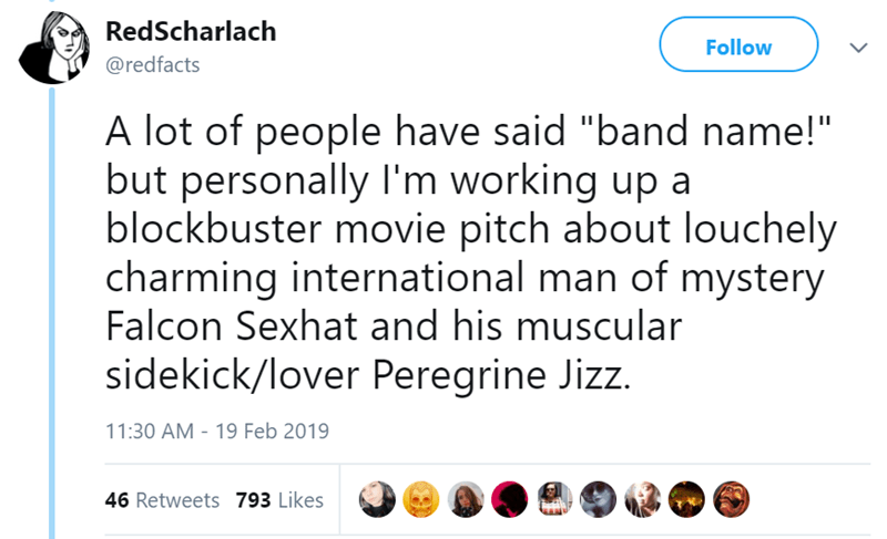 """Text - RedScharlach Follow @redfacts A lot of people have said """"band name!"""" but personally I'm working up a blockbuster movie pitch about louchely charming international man of mystery Falcon Sexhat and his muscular sidekick/lover Peregrine Jizz. 11:30 AM - 19 Feb 2019 46 Retweets 793 Likes"""