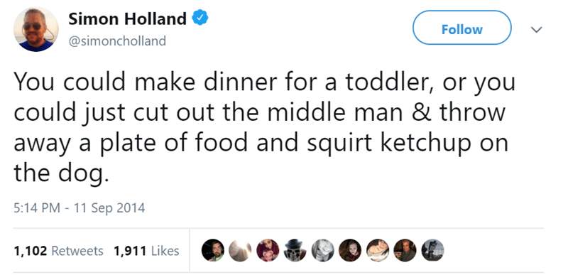 Text - Simon Holland Follow @simoncholland You could make dinner for a toddler, or you could just cut out the middle man & throw away a plate of food and squirt ketchup on the dog. 5:14 PM - 11 Sep 2014 1,102 Retweets 1,911 Likes