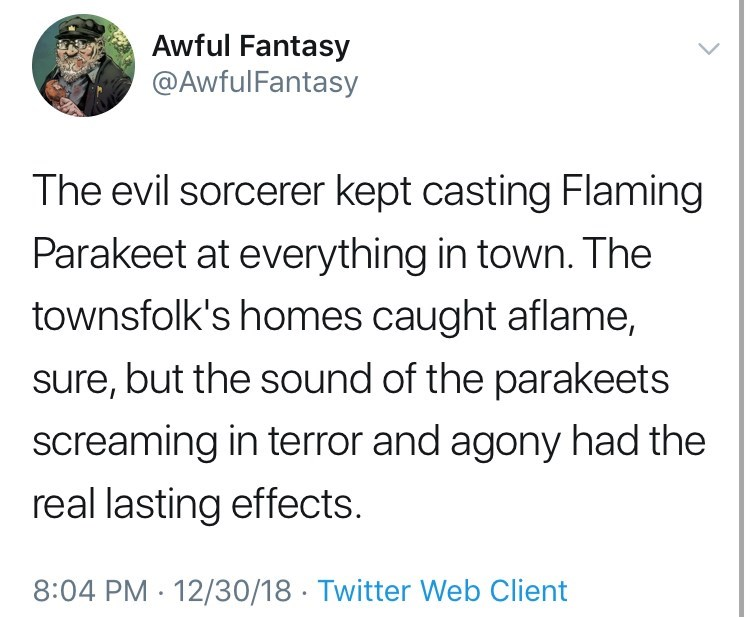 Text - Awful Fantasy @AwfulFantasy The evil sorcerer kept casting Flaming Parakeet at everything in town. The townsfolk's homes caught aflame, sure, but the sound of the parakeets screaming in terror and agony had the real lasting effects. 8:04 PM 12/30/18 Twitter Web Client