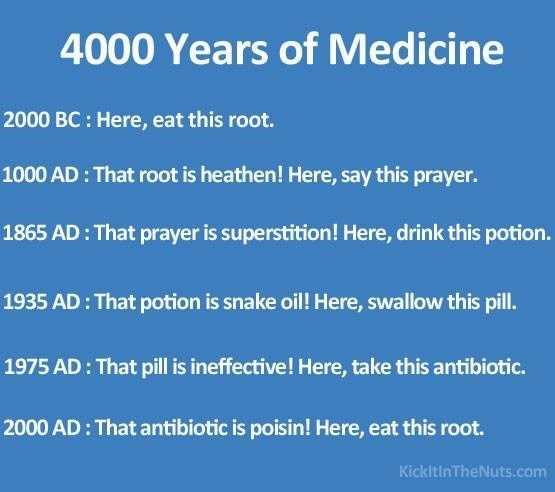 Text - 4000 Years of Medicine 2000 BC : Here, eat this root. 1000 AD: That root is heathen! Here, say this prayer. 1865 AD: That prayer is superstition! Here, drink this potion. 1935 AD: That potion is snake oil! Here, swallow this pill. 1975 AD: That pill is ineffective! Here, take this antibiotic. 2000 AD: That antibiotic is poisin! Here, eat this root. KickltinTheNuts.com