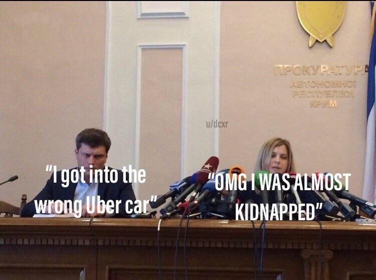 "News conference - IPOKVPATYPA ABTOHOUHOor PECTVERO KPMM u/dcxr ""Igotinto the Wrong Uber car OMGIWAS ALMOST KIDNAPPED"""