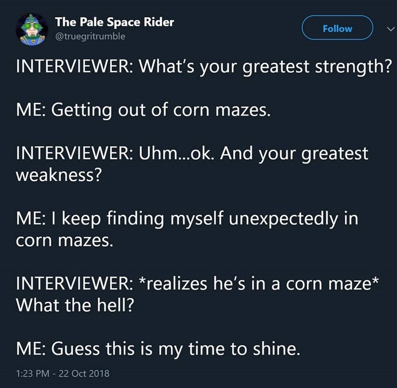 Text - The Pale Space Rider Follow @truegritrumble INTERVIEWER: What's your greatest strength? ME: Getting out of corn mazes. INTERVIEWER: Uhm...ok. And your greatest weakness? ME: I keep finding myself unexpectedly in corn mazes. INTERVIEWER: *realizes he's in a corn maze What the hell? ME: Guess this is my time to shine. 1:23 PM 22 Oct 2018