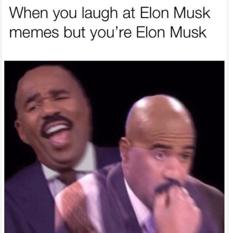 """Caption that reads, """"When you laugh at Elon Musk memes but you're Elon Musk"""" above pics of Steve Harvey laughing and then looking worried"""