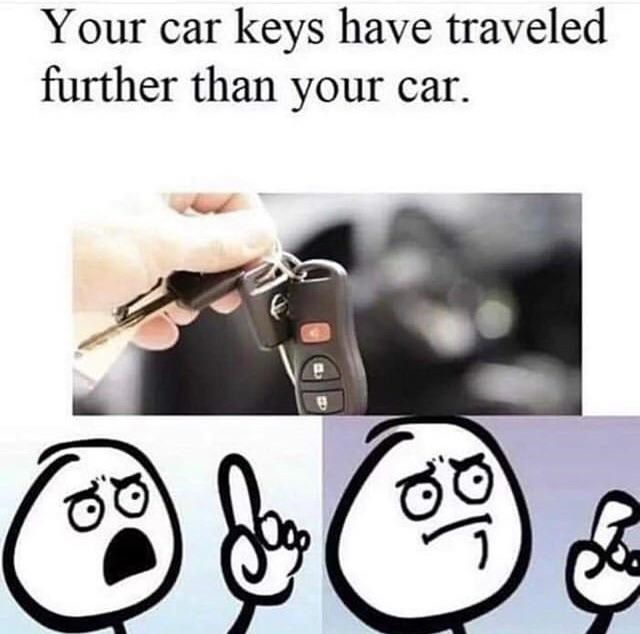 hand holding car keys and cartoon about to say something Your car keys have traveled further than your car