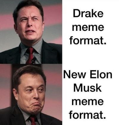 dank meme - Chin - Drake meme format. New Elon Musk meme format.