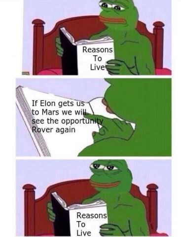 dank meme - Cartoon - Reasons To Live If Elon gets us to Mars we wilL see the opportunity Rover again Reasons To Live