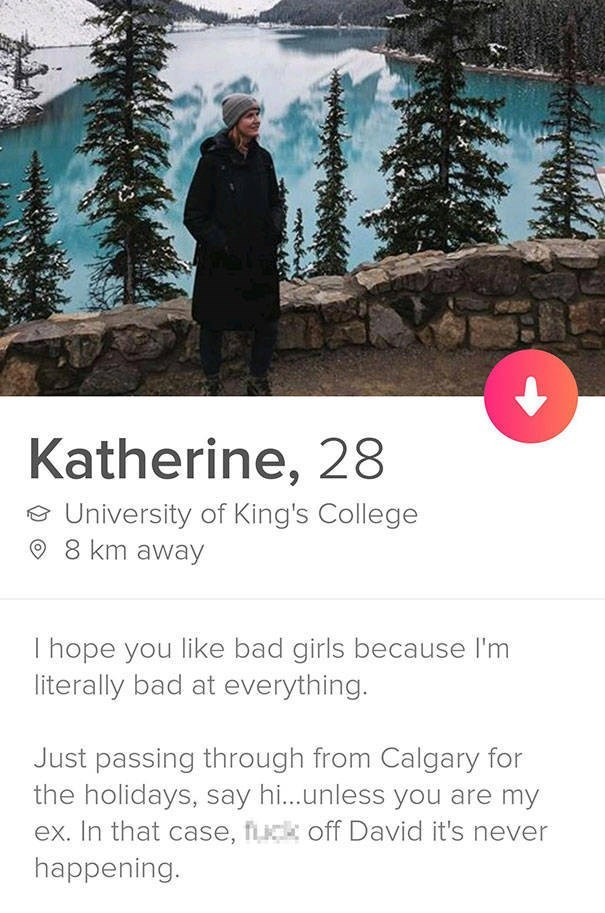 tinder bio - Katherine, 28 University of King's College 8 km away I hope you like bad girls because I'm literally bad at everything. Just passing through from Calgary for the holidays, say h...unless you are my ex. In that case, fck off David it's never happening.