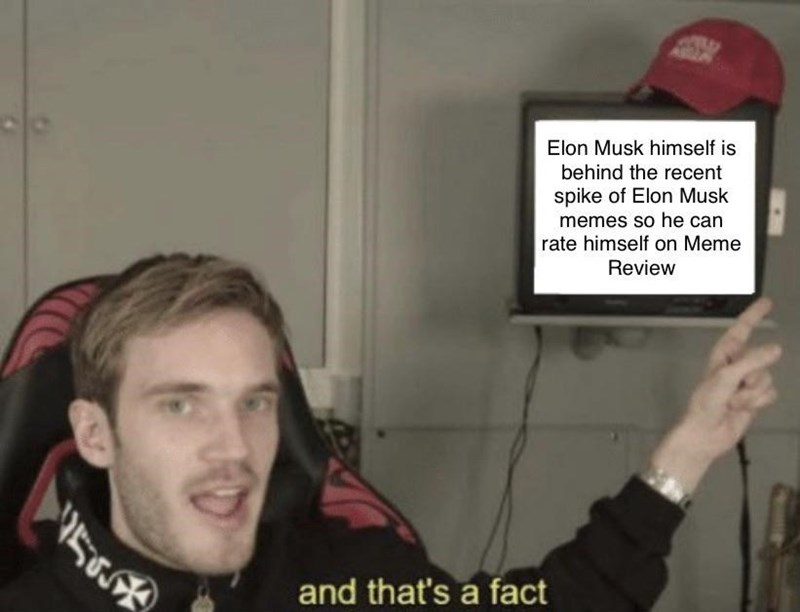 """Pic of Pewdiepie with text below that reads, """"And that's a fact"""" while also pointing at a screen that reads, """"Elon Musk himself is behind the recent spike of Elon Musl memes so he can rate himself on Meme Review"""""""