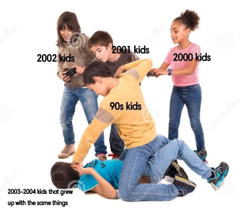 fresh meme about 90s and early 00s kids looking down on younger kids