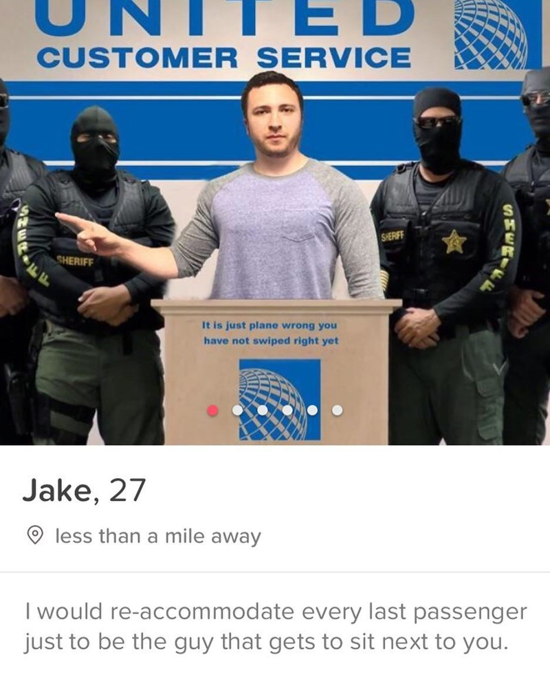 Job - ED CUSTOMER SERVICE SHERIFF SHERIFF It is just plane wrong you have not swiped right yet Jake, 27 less than a mile away I would re-accommodate every last passenger just to be the guy that gets to sit next to you. SMERIE