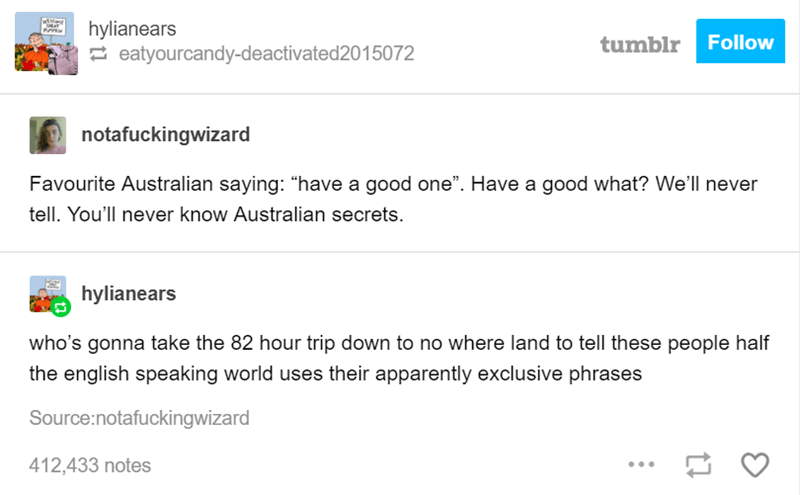 """Text - hylianears eatyourcandy-deactivated2015072 Follow tumblr notafuckingwizard Favourite Australian saying: """"have a good one"""". Have a good what? We'll never tell. You'll never know Australian secrets. hylianears who's gonna take the 82 hour trip down to no where land to tell these people half the english speaking world uses their apparently exclusive phrases Source:notafuckingwizard 412,433 notes"""