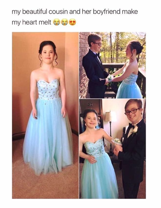 "Caption that reads, ""My beautiful cousin and her boyfriend make my heart melt"" above pics of a couple with Downs Syndrome going to prom together"