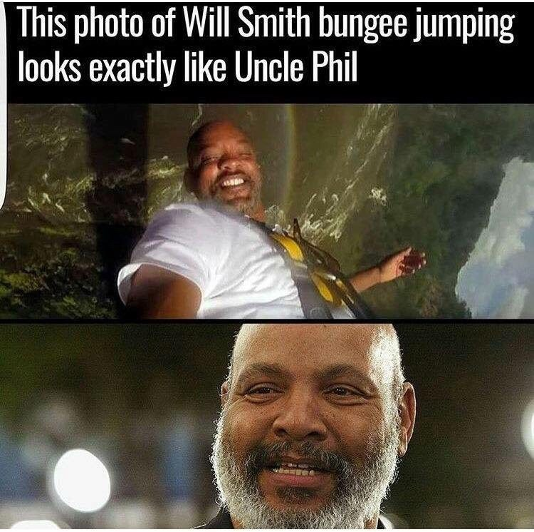Photo caption - This photo of Will Smith bungee jumping looks exactly like Uncle Phil