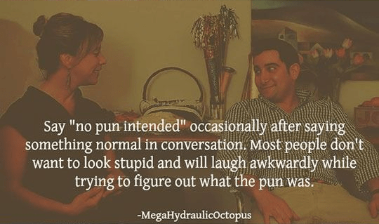 """Text - Say """"no pun intended"""" occasionally after saying something normal in conversation. Most people don't want to look stupid and will laugh awkwardly while trying to figure out what the pun was. -MegaHydraulicoctopus"""
