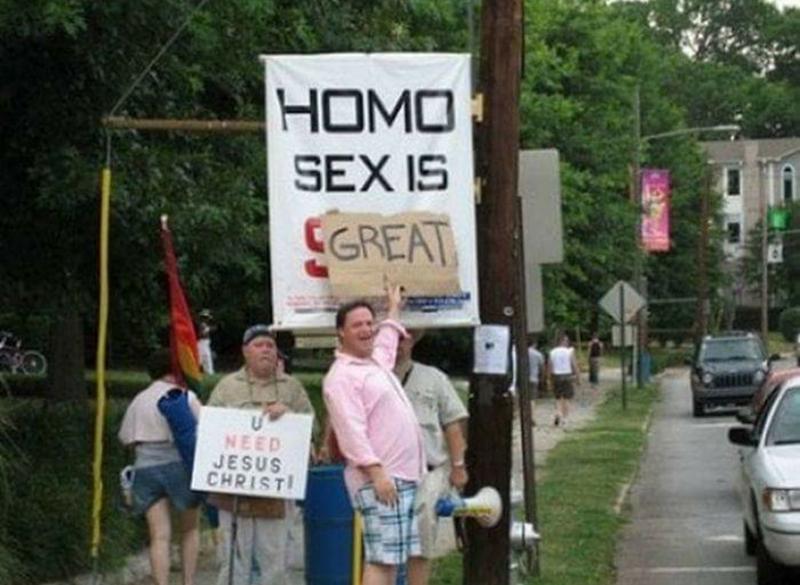 Sign - HOMO SEX IS SGREAT NEED JESUS CHRIST