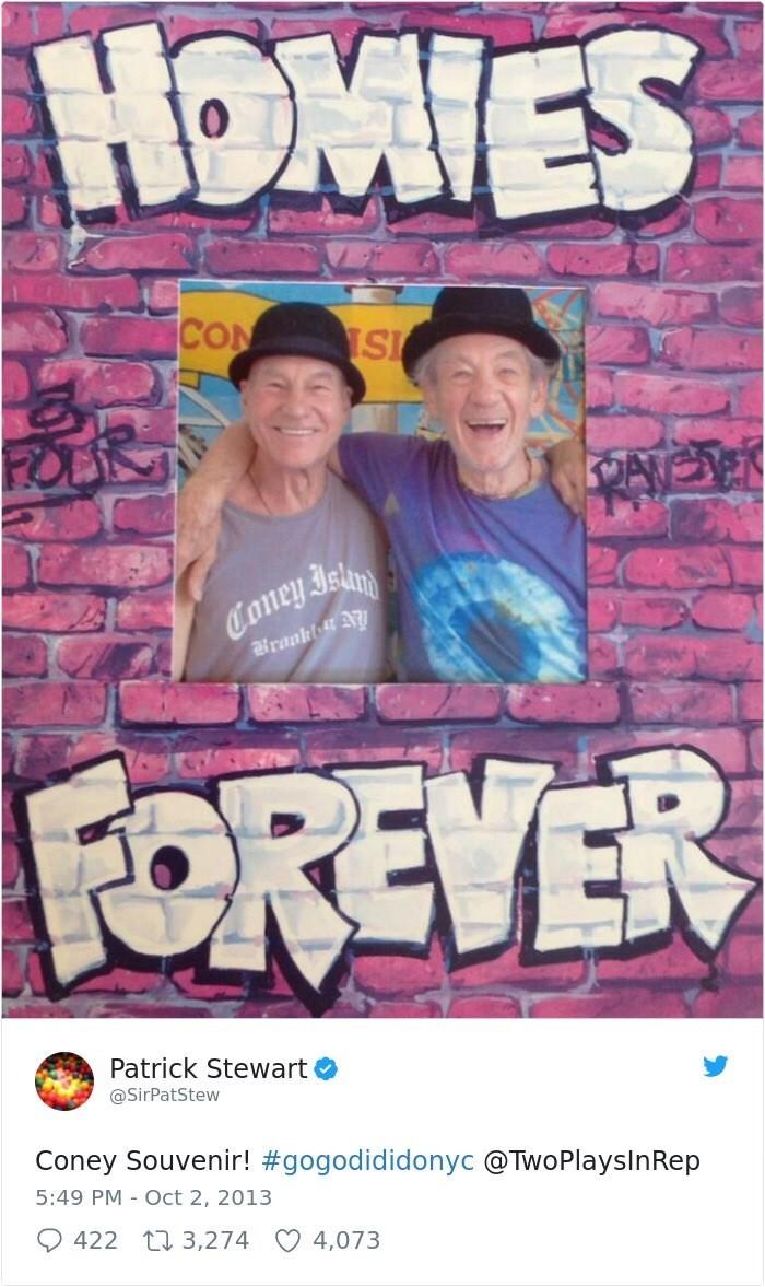 Poster - HOMIES CON SI Coney Islim FOREVER Patrick Stewart @SirPatStew Coney Souvenir! #gogodididonyc @TwoPlayslnRep 5:49 PM Oct 2, 2013 422 t 3,274 4,073
