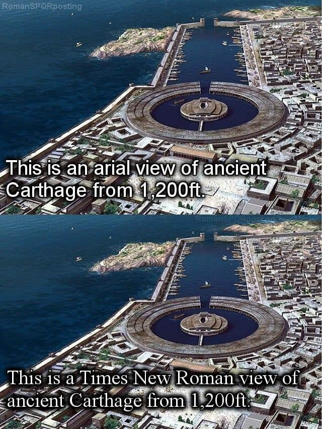 World - RomanSPORposting This is an ariallview of ancient Carthage from 1,200ft RomanSPOR This is a Times New Roman view of ancient Carthage from 1,200ft