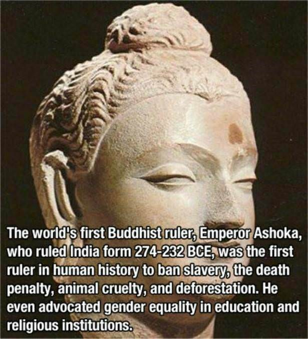 "Text that reads, ""The world's first Buddhist ruler, Emperor Ashoka, who ruled India from 274-232 BCE, was the first ruler in human history to ban slavery, the death penalty, animal cruelty, and deforestation. He even advocated gender equality in education and religious institutions"""