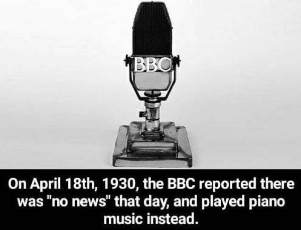 """Microphone - BBO On April 18th, 1930, the BBC reported there was """"no news"""" that day, and played piano music instead."""