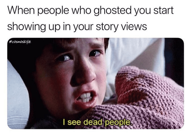 Funny meme about people watching your instagram stories, the sixth sense, haley joel osment, i see dead people.