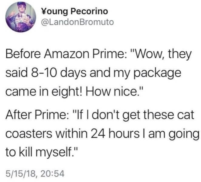 """Text - Young Pecorino @LandonBromuto Before Amazon Prime: """"Wow, they said 8-10 days and my package came in eight! How nice."""" After Prime: """"If I don't get these cat coasters within 24 hours I am going to kill myself."""" 5/15/18, 20:54"""