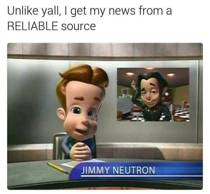 wholesome meme about getting news from Jimmy Neutron