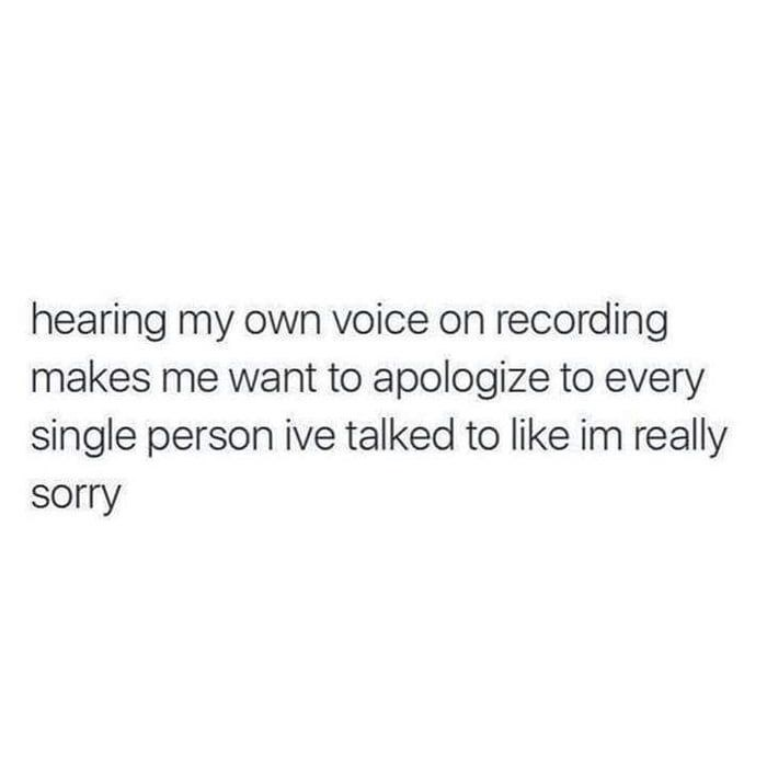 wholesome meme about hating your own voice on a recording