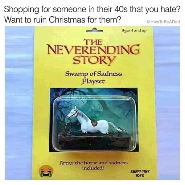 Shopping for someone in their 40s that you hate? Want to ruin Christmas for them? HowToBeADad Ages 4 and up THE NEVERENDING STORY Swamp of Sadness Playset Artax che borse and sadness included! SNAPP TINK TOYS