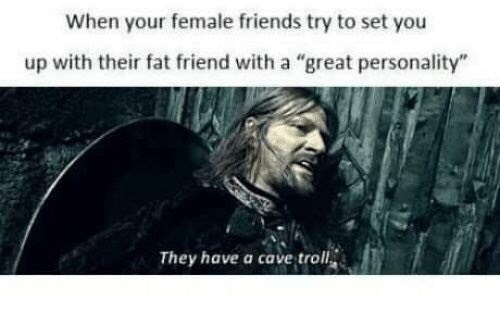"Text - When your female friends try to set you up with their fat friend with a ""great personality"" They have a cave troll"