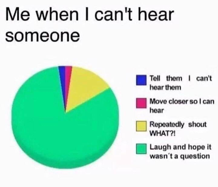 Text - Me when I can't hear someone Tell them can't hear them Move closer so I can hear Repeatedly shout WHAT?! Laugh and hope it wasn't a question