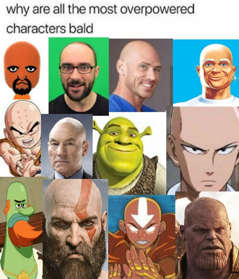 Facial expression - why are all the most overpowered characters bald