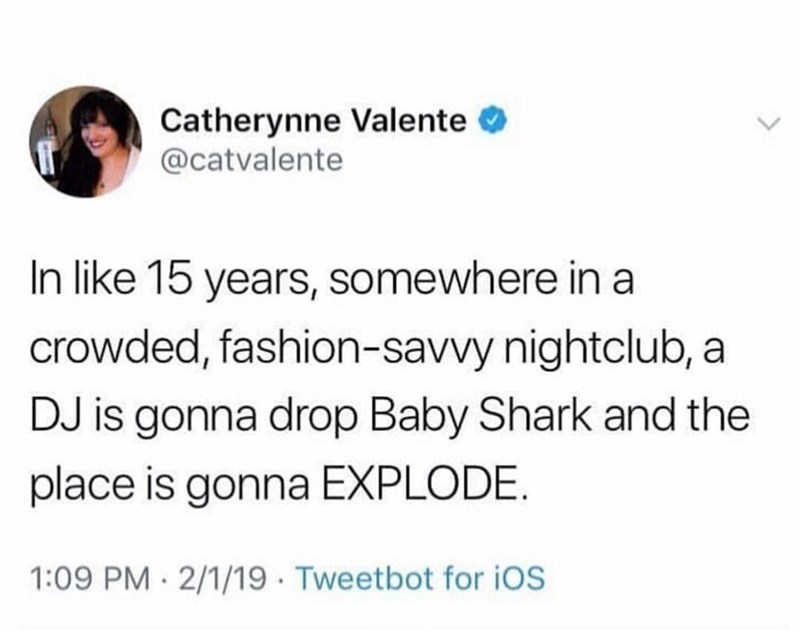 silly meme about baby shark getting played in clubs