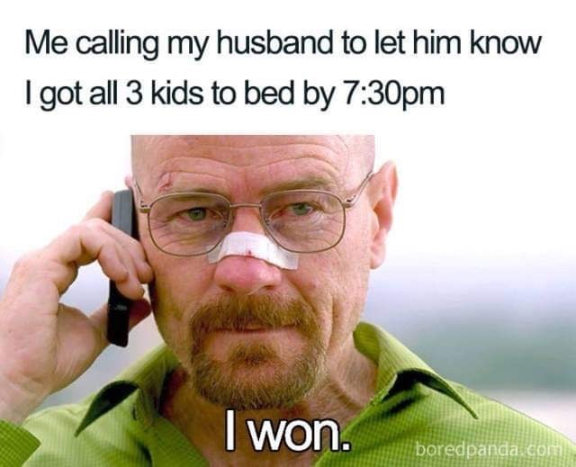 silly meme about putting your kids to sleep early with pic of a victorious Walter White