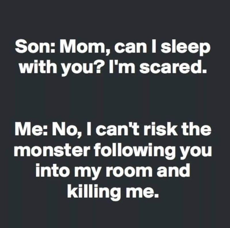 silly meme about a mother scaring her son with monster stories