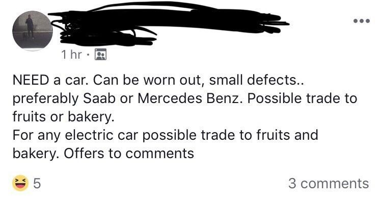 silly meme of a person looking to trade fruits for a car