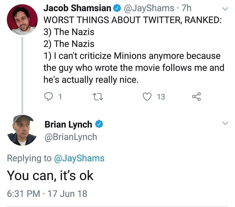 silly meme about Brian lynch the writer of the minions movie being a nice guy
