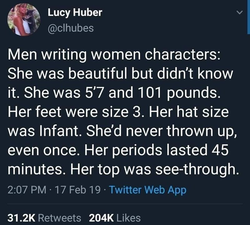 silly meme about how male writers write women