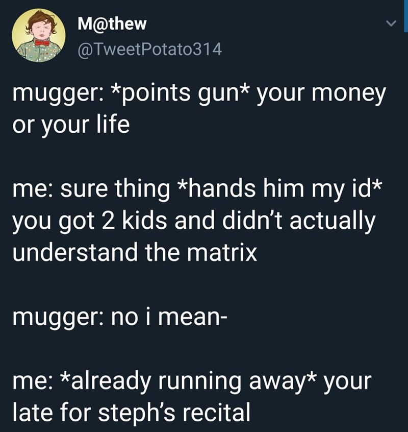 silly meme about giving a mugger your identity