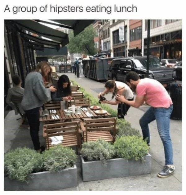 millennials - Local food - A group of hipsters eating lunch