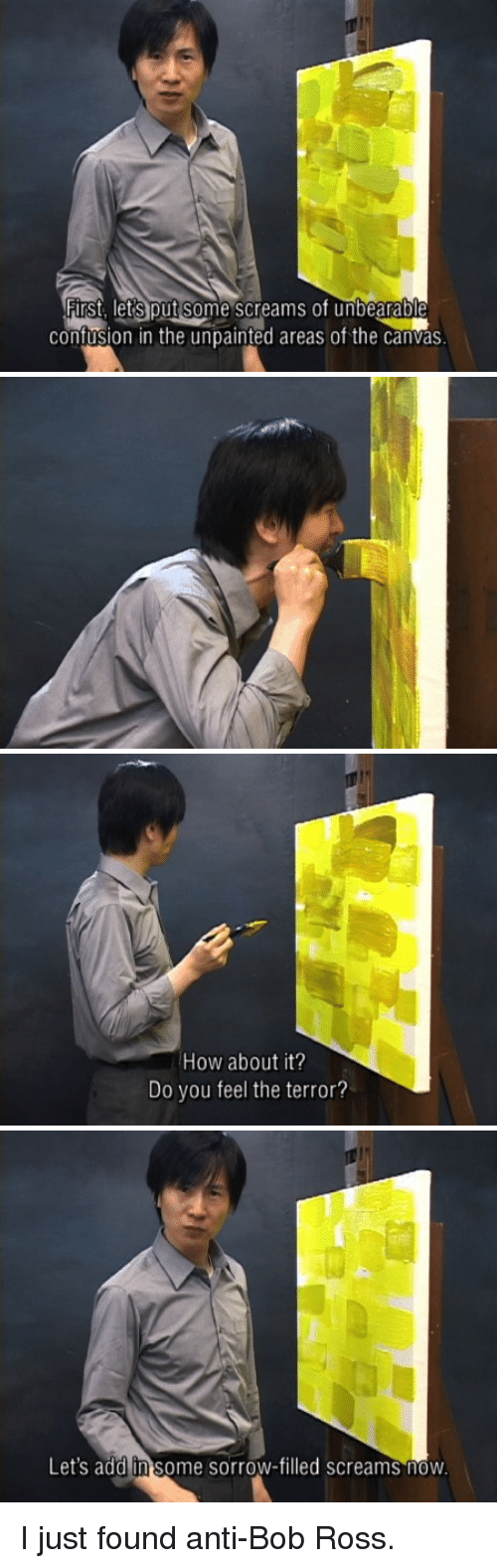 "Panel pics of an Asian ""anti-Bob Ross"" saying existentially terrifying things while he paints"
