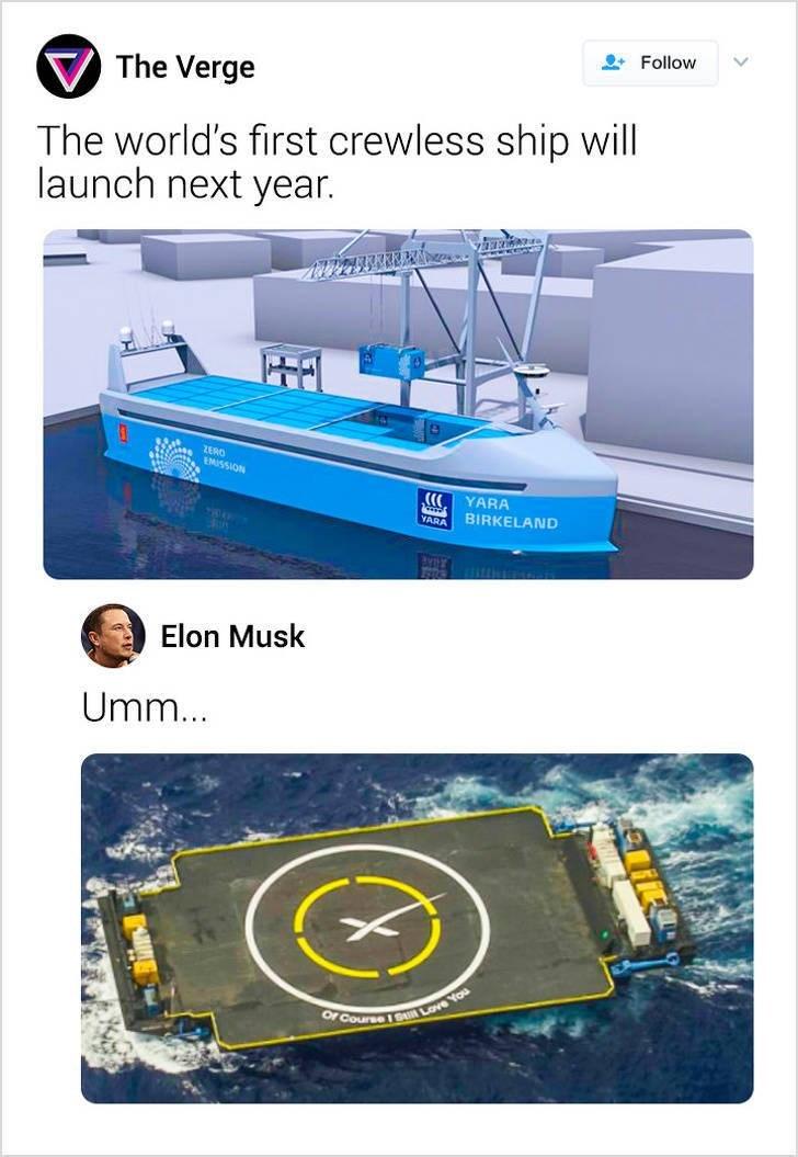 Product - Follow The Verge The world's first crewless ship will launch next year. ZERO 4 EM5SION YARA BIRKELAND YARA Elon Musk Umm... Of Course1 SLve You