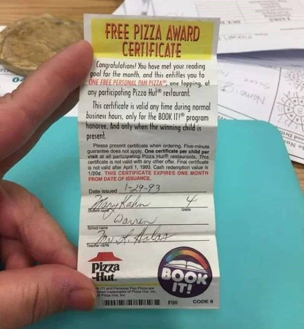 nostalgic pic of pizza hut's book it program free pizza certificate