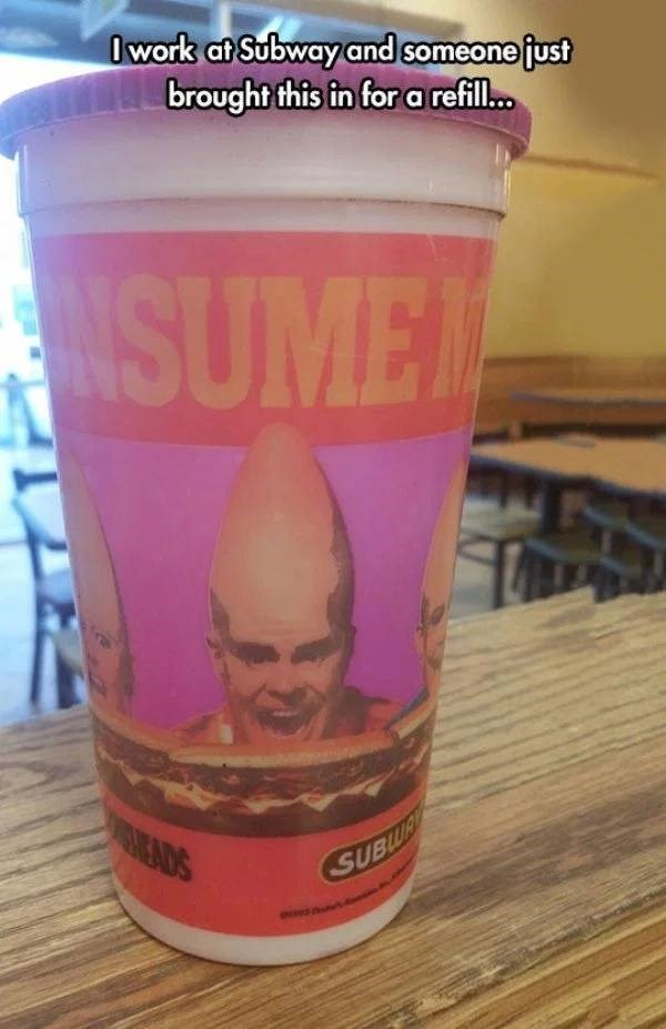 nostalgic pic of a subway coneheads cup