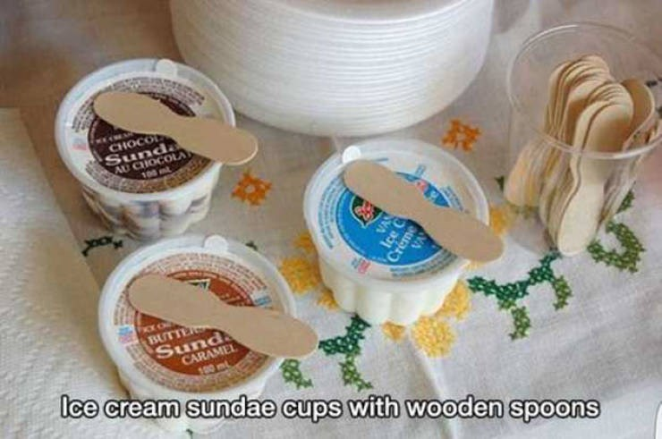 """Caption that reads, """"Ice cream sundae cups with wooden spoons"""" below a pic of the ice cream cups"""