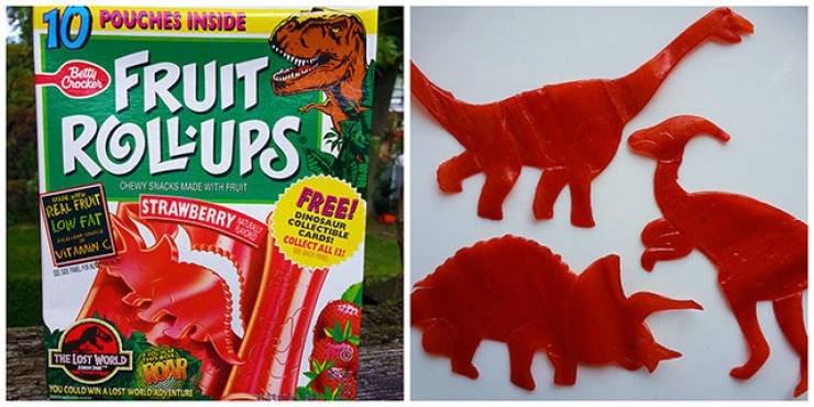 nostalgic pic of dinosaur shaped fruit roll ups