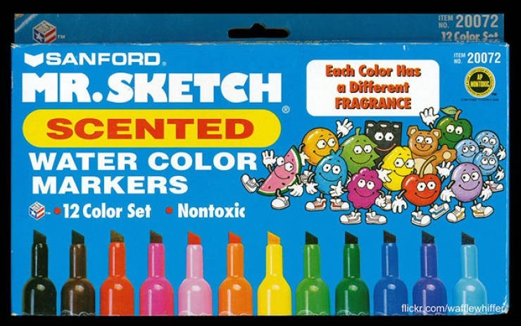 nostalgic pic of a box of scented markers
