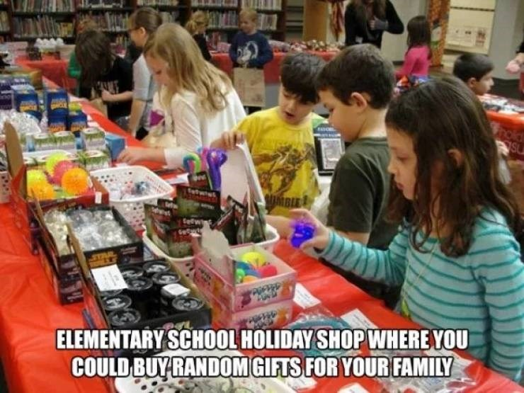 nostalgic pic of a holiday shop at school