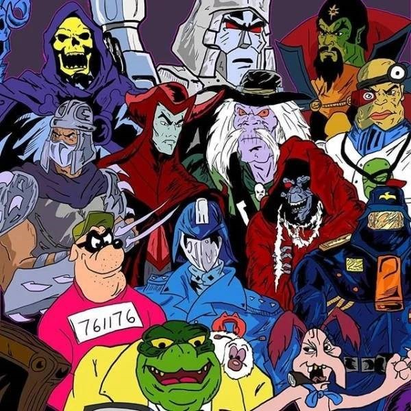 nostalgic pic of villains from old kids tv shows